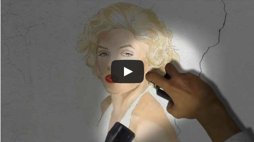 Graffiti paint intro Youtube logo and Marilyn Monroe portrait