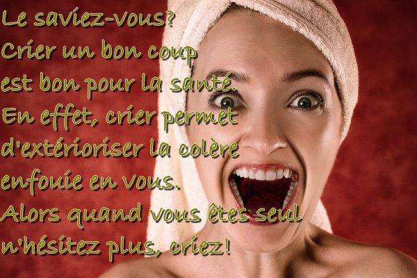 Crier est bon pour la santé!