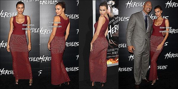 .  23/07/14 :   Irina Shayk' était présente à l'avant-première de son tout premier film, « Hercule ». qui a eu lieu à L. A.      Irina, qui incarne le personnage de Megara dans Hercule, a fait sensation dans une robe moulante qui soulignait ses jolies formes, TOP !?.     .