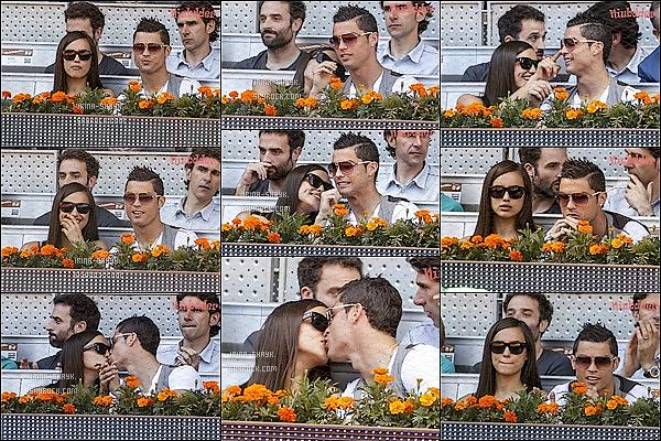 .  10/05/13 :  Irina & son homme ont été repérés dans les tribunes de l'Open de tennis de Madrid. Ils sont  mignons.      Entre Irina Shayk et Cristiano Ronaldo la lune de miel se poursuit et dans les tribunes de l'open de tennis de Madrid la température monte   .