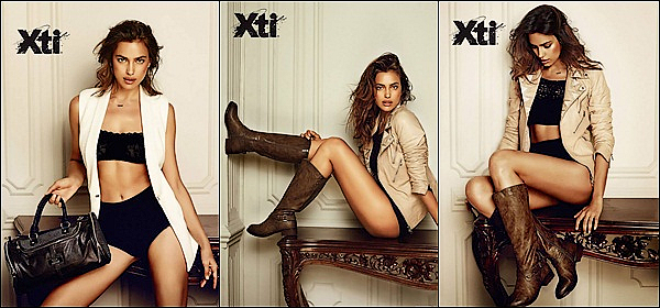.  ●● Xti  ●●              Irina prend la pose pour promouvoir la nouvelle collection d'XTI automne-hiver 2014/2015.    Le top est l'égérie d'une marque de chaussure espagnole nommée XTI, ce sont les pieds d'Irina Shayk qui seront mis en valeur.  J'adore le shoot ! - Vos avis   .