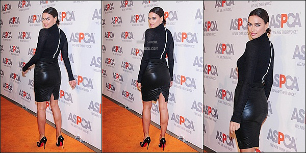.  16/10/14 :   La top russe Irina Shayk était présente à la soirée de l'ASPCA Young Friends Benefit à New York. Top!   .