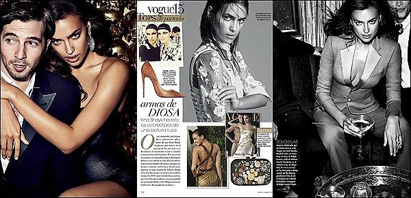 .  ●● Vogue Mexique  ●●              Irina Shayk prend la pose pour le prestigieux magazine de mode Vogue. J'adore !.    Irina affirme une fois de plus qu'elle est une femme fatale. Sourire XXL et robe rouge décolletée ornée de sequins pour la top model. - Vos avis   .