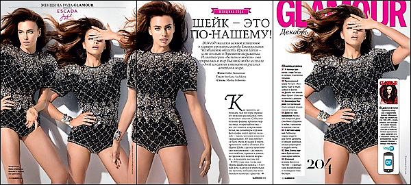 .  ●● Glamour  ●●              Irina Shayk prend la pose & s'offre la couverture du nouveau numéro du magazine russe Glamour.     Afin de fêter encore plus dignement son titre de femme de l'année,  Irina s'offre la couverture du nouveau numéro du magazine. -    .