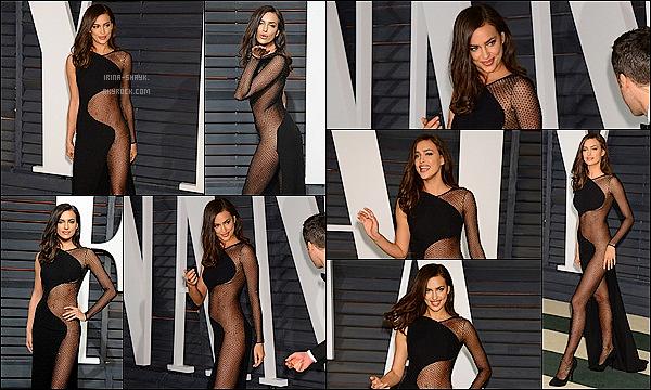 .  22/02/15 :  Irina Shayk s'est rendue à l'after party des Oscars dans une tenue aussi dénudée que renversante.   .