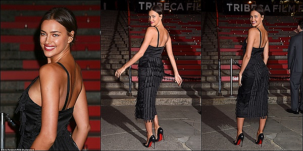 .  14/04/15 :   Irina a participé à la soirée organisée par le magazine Vanity Fair dans le cadre du festival de Tribeca.   Un  festival de cinéma indépendant américain créé en 2002 qui se déroule chaque année à TriBeCa, un quartier branché de Manhattan.Top   .