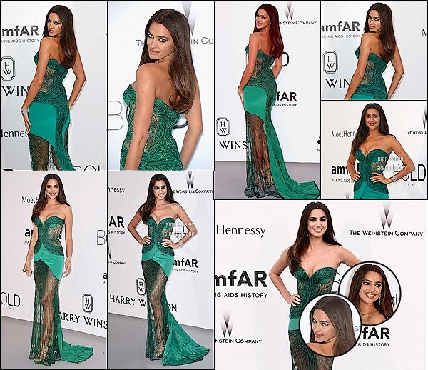 .  21/05/15 :  Irina Shayk était présente à la 22ème édition du gala de l'association    amfAR   qui lutte contre le sida.   Depuis son arrivée sur la Croisette, le top model russe, Irina Shayk, a fait un sans-faute. Actuellement, à Cannes en compagnie de ses amies.    .