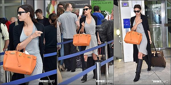 .  22/05/15 :  La belle mannequin russe Irina Shayk était aperçu et photographiée à l'aéroport de  Nice, en France.     Déjà le départ pour Irina Shayk,  le top a repris le chemin de l'aéroport dans un look décontracté mais encore une fois terriblement sexy !    .