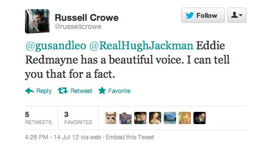 Tweet Russel Crowe