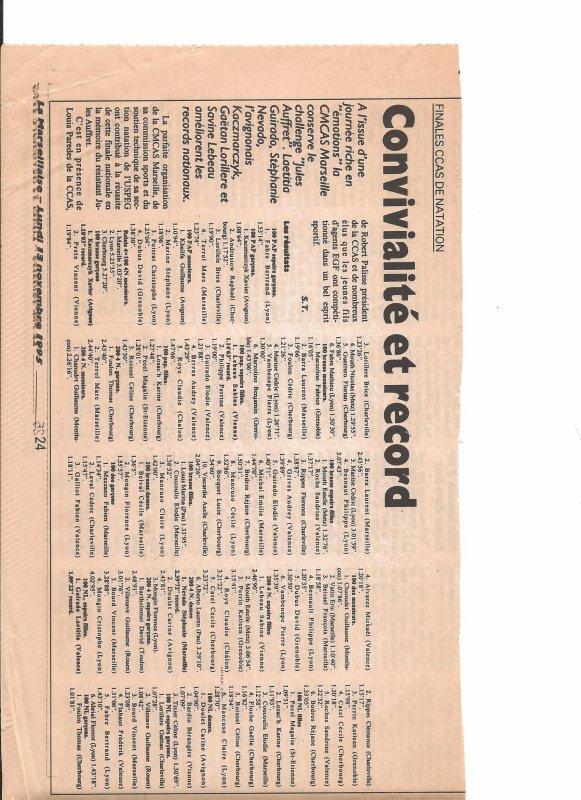 Finales nationales CCAS (EDF-GDF) de natation 1995