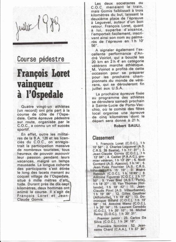 Montée pédestre de l'Ospédale 1989