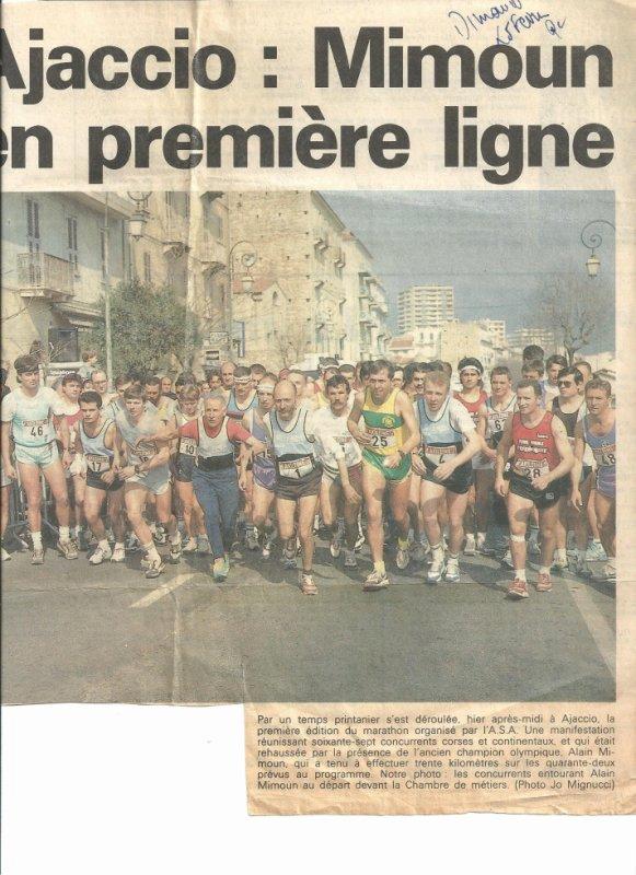Alain Mimoun au départ du marathon d'Ajaccio