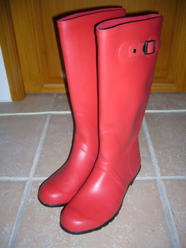 bottes caoutchouc rouge femme