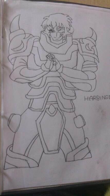 Dessin Haruto en armure d'oméga et Harbinger en armure d'or