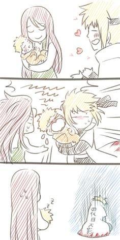 Naruto bébé quand il est dans les bras de Minato pour le bercer