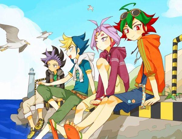 Yu gi oh arc V: Yuya, Yugo, Yuri et Yuto au bord de la mer
