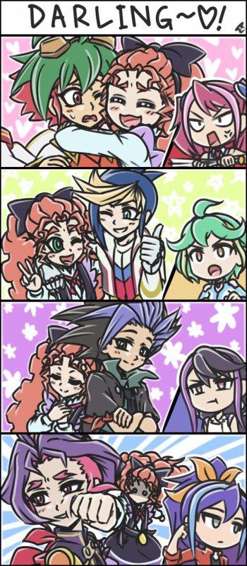 Aura collait à Yuya, Yuto et Yugo