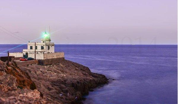 """Eclairage des cotes algériennes,bord de mer  """" souvenir une soirée de pêche au phare de collo """""""
