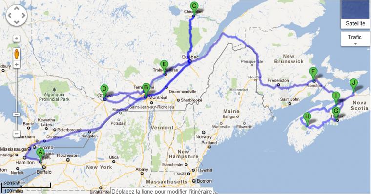 itinéraire au canada