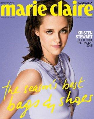 Kristen Stewart en couverture du Marie Claire australien du mois d'octobre