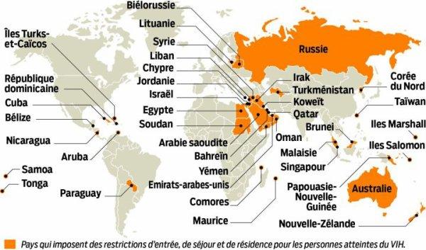 Carte montrant les pays qui imposent des restrictions d'entrée pour les personnes atteintes du VIH