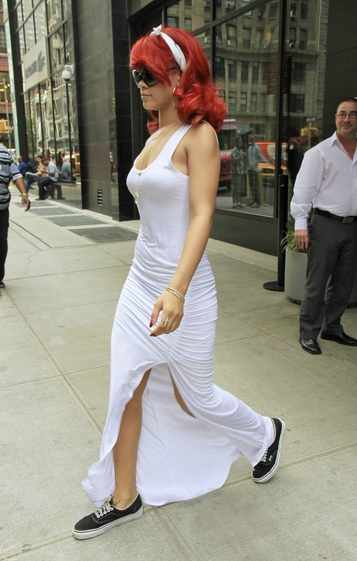 Leaving her hotel in NYC