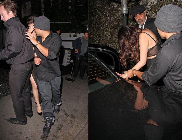 10 février : Selena sortant de la Grammy After Party au chateau Marmont avec l'ami de Justin Bieber, Alfredo Flores et Samantha Droke