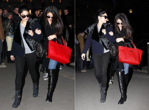 16 février : Selena, Vanessa et Ashley dinant à Paris