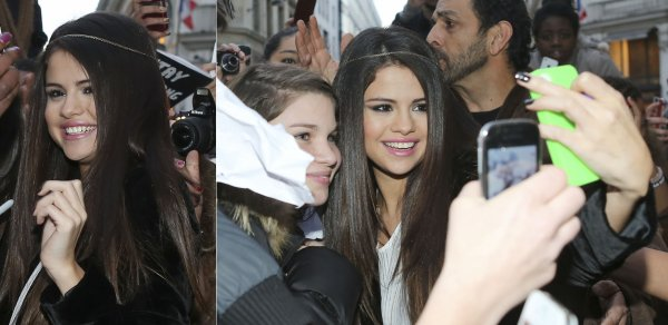 17 janvier : Selena saluant ses fans en bas de son hotel à Paris