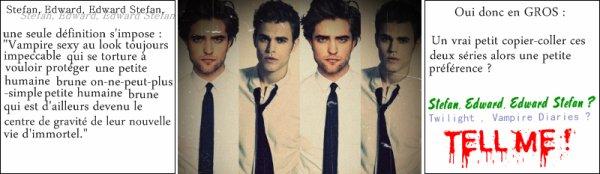 """Une ressemblence beaucoup trop frappante.Robert Pattinson-Paul Wesley ?  - Paul.W : """" C'est vrai qu'elle ne saute pas aux yeux à première vue mais quand on met la photo de nos personnages l'une à côté de l'autre, c'est tout de même flagrant. Je pense que c'est dû aux CHEVEUX. Je sais que les femmes l'adorent. Elles ont peut être besoin de faire des COMPARAISONS mais je pense que nous sommes quand même très différents. Il est très SENSUEL et SEDUISANT, je comprends çà."""
