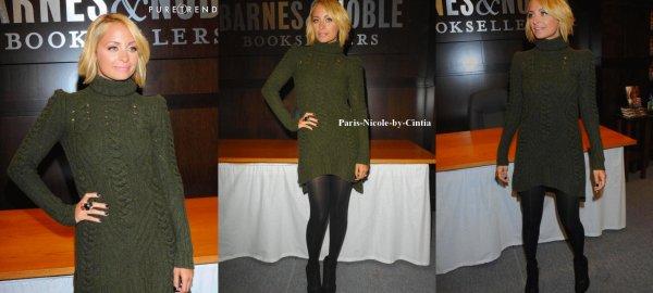 Nicole Richie à la boutique Barnes&Noble de Los Angeles pour la promotion de Priceless (son livre).   Sur tous les sites que vous pourrez trouver sur le net, les avis sont très précis : la tenue de Nicole reste à désirer. Cette robe verte kaki en laine cache la belle silhouette de Nicole.Niveau coiffure & make je le trouve assez bien.