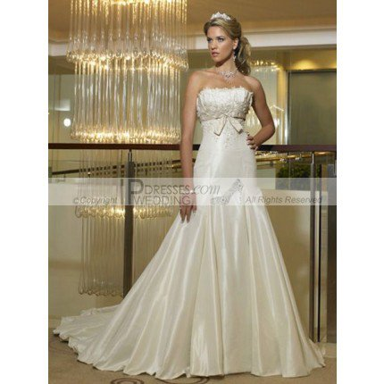 Cheap Wedding Dresses,New Design White Strapless Mermaid Empire Waist Wedding Dress Vintage Style