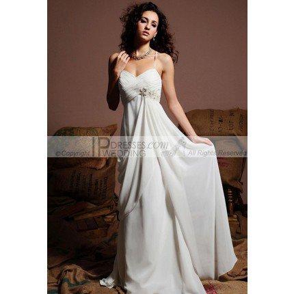Princess Graceful White Spaghetti Straps Outdoor / Beach Casual Wedding Dress –Make You as a Princess