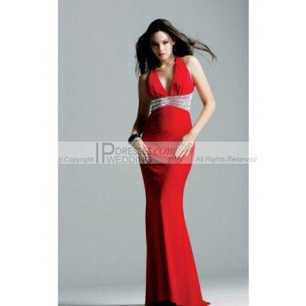 Deep V-Neck Mermaid Style Skirt Elastic Satin Evening Gown