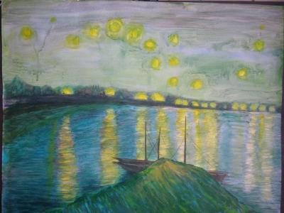 """Acrilique sur papier 11 (étude, reproduction de Van Gogh """"La nuit étoilée sur le rhône"""" 1888"""