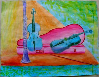 Acrilique sur papier 12 (Etude nature morte aux instruments de musiques:Clarinette et violons)