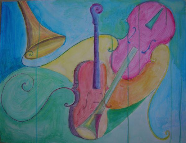 Etude instruments de musiques 2.13  Acrylique sur papier