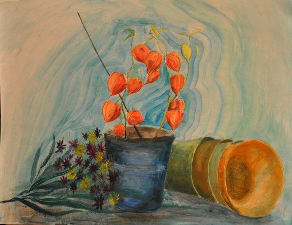 Etude 15 Nature morte Physalis avec pots et bouquets de fleurs Acrylique sur papier