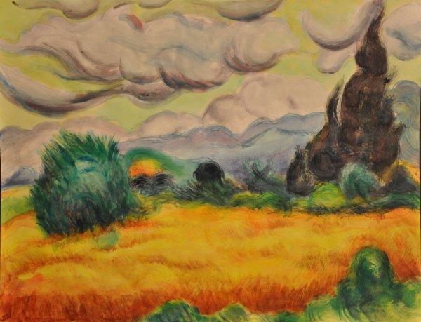 """Acrilique sur papier 16 (étude, inspiré de Van Gogh """"Champ de blé avec cyprès 1889)"""