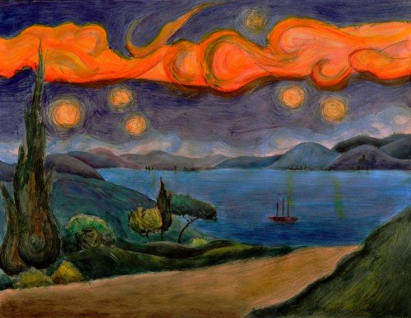 etude 17 (inspiré de la reproduction precedente ((Van Gogh)) imaginez votre propre paysage) Acrylique sur papier