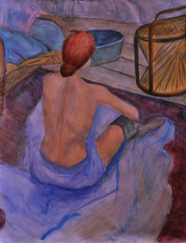 Etude 18 peinture acrylique (d'apres une reproduction de Toulouse Lautrec Titre???)