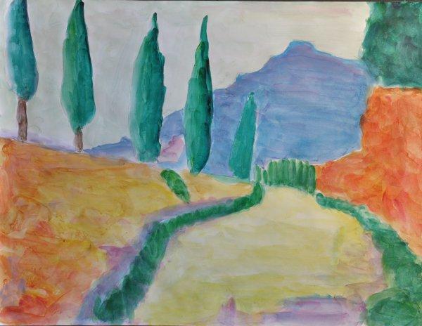 """Acrylique sur papier  """"reproduction du peintre DERAIN"""""""
