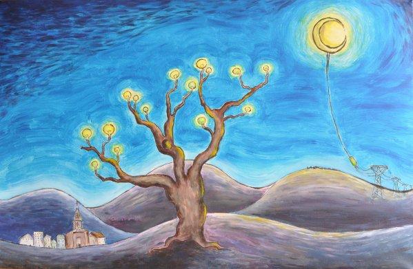 """""""L'arbre aux lumieres"""" ou """"Futur Imparfait""""  Etape 1 Acrylique sur toile format : de 100 cm/ 65 cm"""
