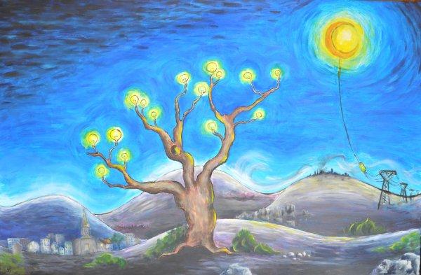 """Huile sur toile """"L'arbre aux lumieres ou future imparfait""""étape finale"""