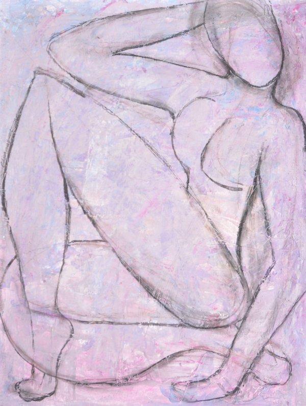 Acrylique sur papier + matiere repro modifier de Matisse en cours de realisation