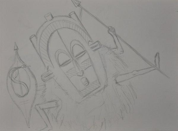 Dessin projet civilisation et arts premiers (rapprochement des peuples) 1er partie