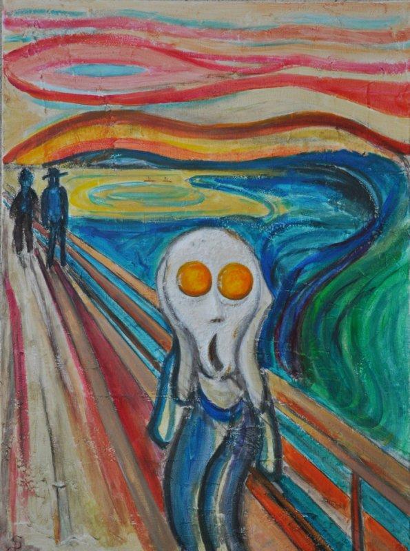 Le cri de l'oeuf au plat inspiré de Munch