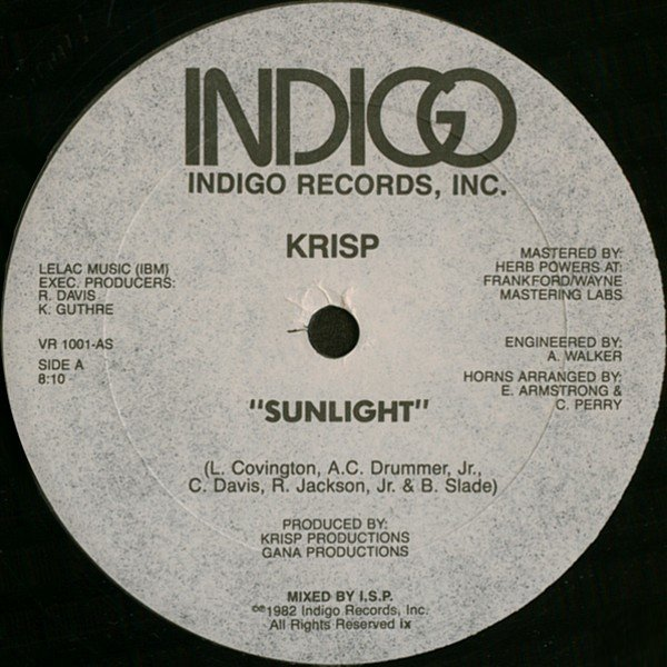 Krisp 1982 - Sunlight sur le label  INDIGO RECORDS
