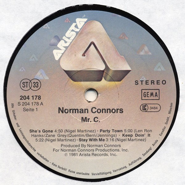 Norman Connors 1981-She's Gone chez  le Label Arista Records