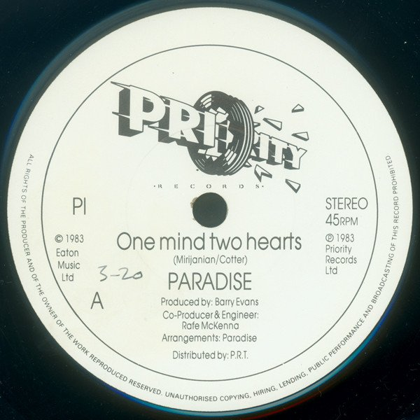 Paradise 1983  -  One mind two hearts / back together (45t) Priority Records